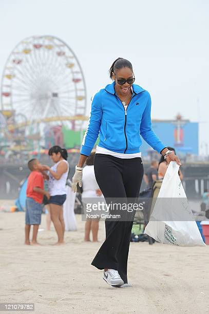 Tina Thompson of the Los Angeles Sparks joins forces with Waste Management and Heal the Bay to clean up Santa Monica beach as part of the WNBA's Go...