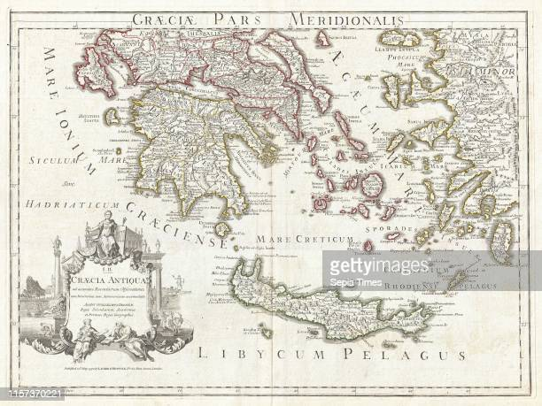1794 Delisle Map of Southern Ancient Greece Greeks Isles and Crete