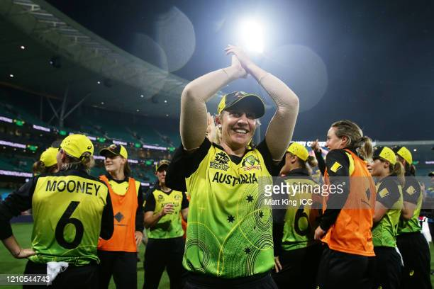 Delissa Kimmince of Australia and team mates celebrate victory after the ICC Women's T20 Cricket World Cup Semi Final match between Australia and...
