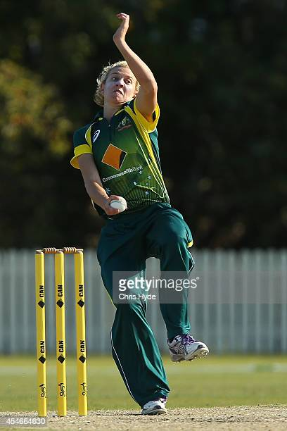 Delissa Kimmince of Australia bowls during the women's international series T20 match between the Australian Southern Stars and Pakistan at Kerrydale...