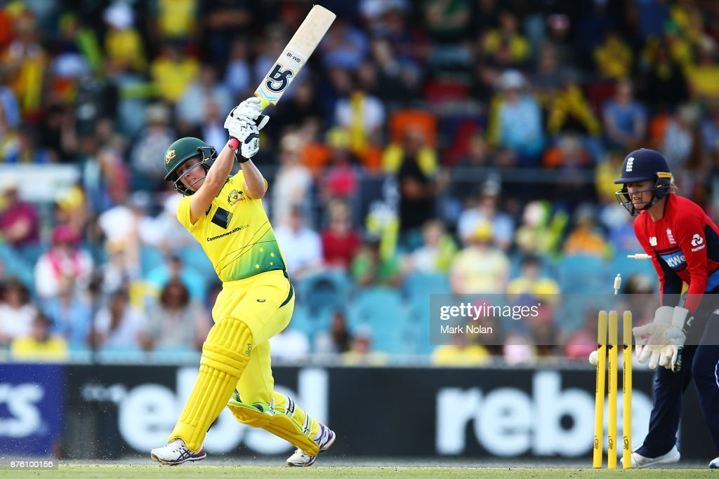 Delissa Kimmince of Australia is bowled during the second Women's Twenty20 match between Australia and England at Manuka Oval on November 19, 2017 in Canberra, Australia.