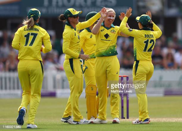 Delissa Kimmince of Australia is congratulated on bowling Nat Sciver of England LBW during the 2nd Royal London Women's ODI match between England and...