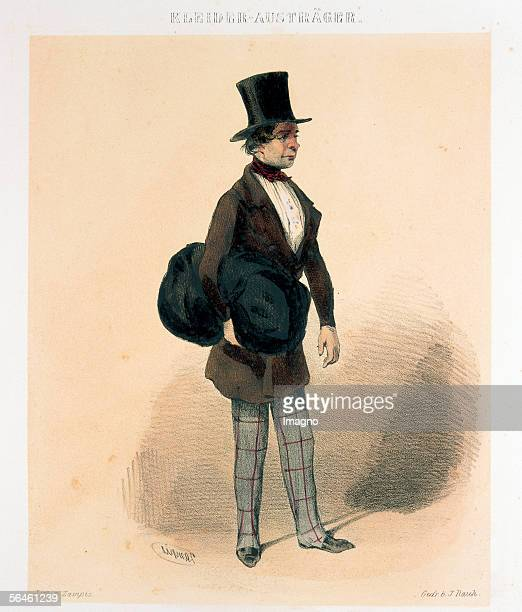 Delivering clothes. Young man in stove pipe hat and frock, bag with clothes under his arm. From: Viennese characters in figurative illustrations ....