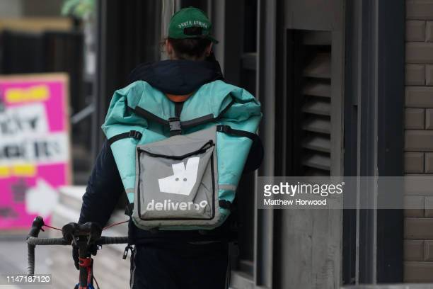 Deliveroo rider on May 2 2019 in Cardiff United Kingdom