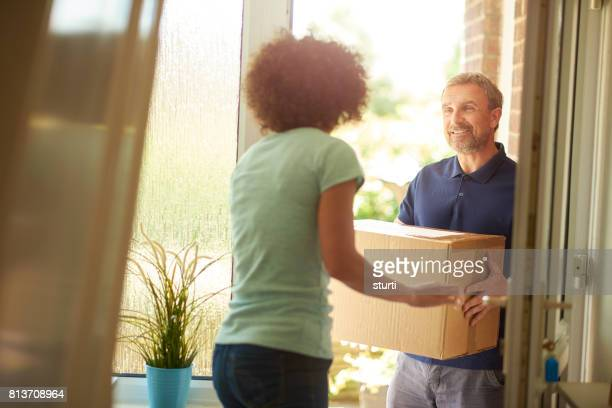 delivery arrives - online shopping stock photos and pictures