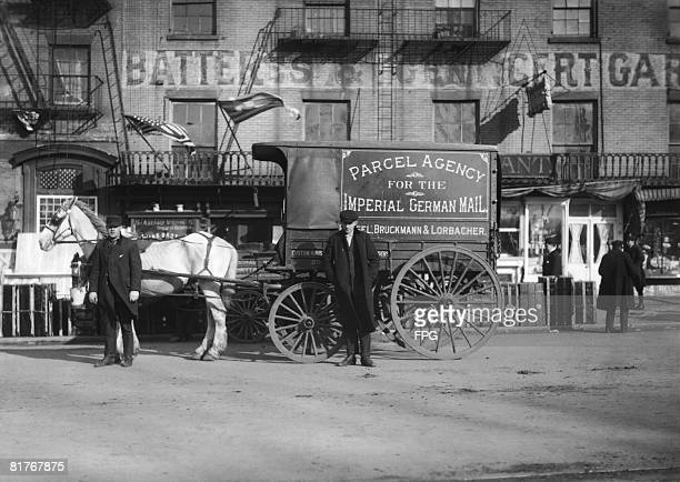 A delivery cart for Bruckmann and Lorbacher's parcel agency for the Imperial German Mail steamer service USA circa 1910