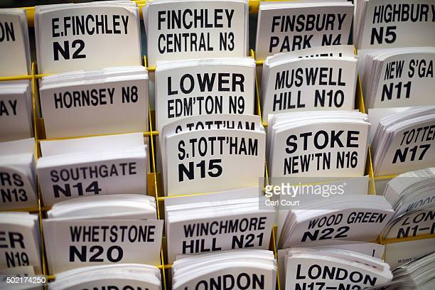 Delivery labels are pictured at Royal Mail's Mount Pleasant Mail Centre on December 21 2015 in London England This week is expected to be the busiest...