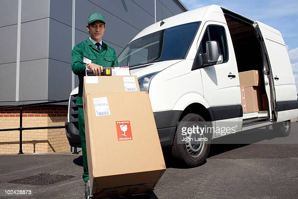 Delivery man and van