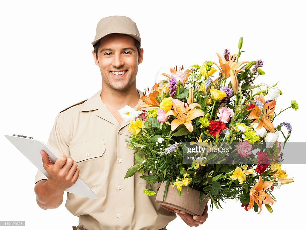 Delivery Man Holding Bouquet Of Flowers And Clipboard Isolated Stock ...