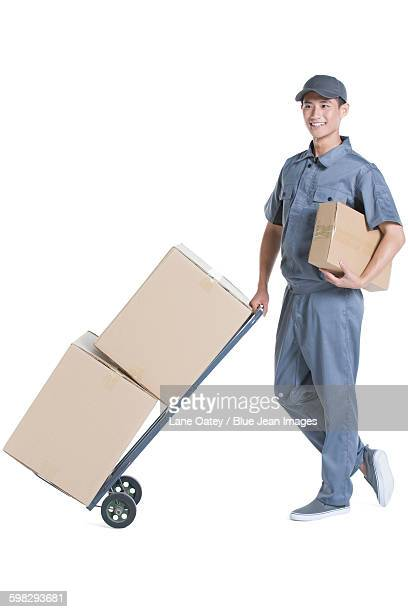 Delivery person delivering package