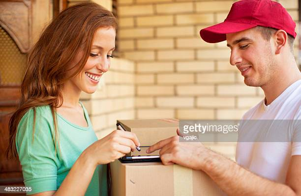 Delivery person with packages