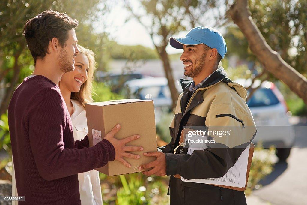 Delivery right to your door! : Foto de stock