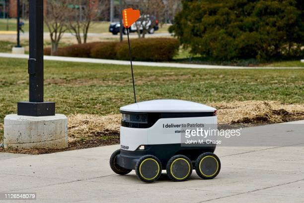 delivery robot at george mason university - autonomous technology stock pictures, royalty-free photos & images
