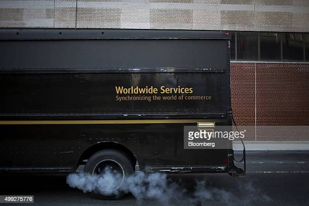 A delivery truck exits a United Parcel Service Inc distribution facility on Cyber Monday in New York US on Monday Nov 30 2015 Online sales on Cyber...