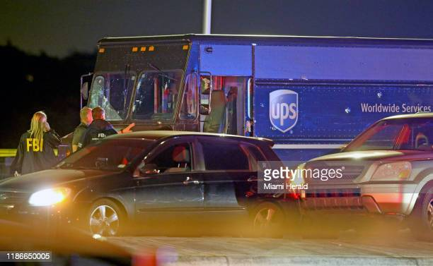 A UPS delivery truck involved in a robbery in Coral Gables and ending in a police shooting at Flamingo Road and Miramar Parkway Thursday Dec 5 2019