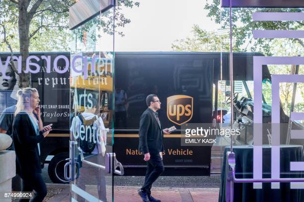 A UPS delivery truck pulls up outside the Contemporary Arts Museum where Serena Williams will be getting married later this evening in New Orleans...