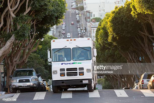 delivery vehicle of fedex in san francisco usa