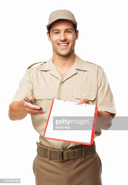 Deliveryman Asking For Your Signature - Isolated