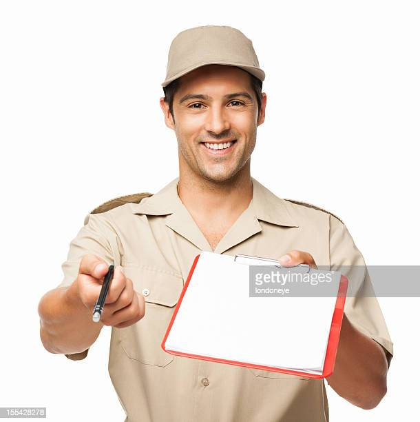 Deliveryman Waiting For Your Signature - Isolated