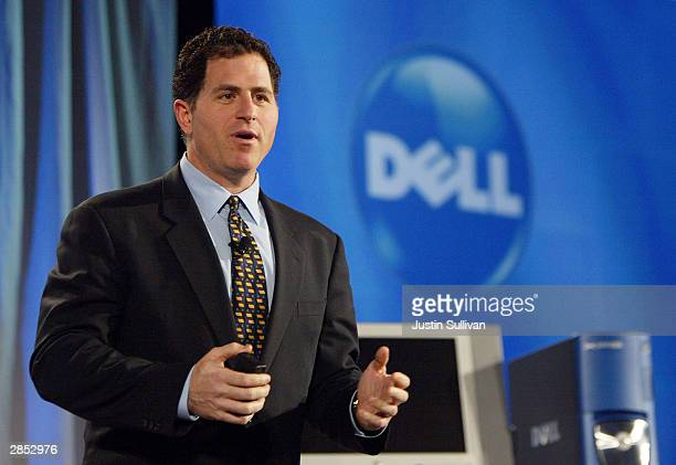 Dell CEO Michael Dell delivers a keynote address at the International Consumer Electronics Show January 8, 2004 in Las Vegas, Nevada. Thousands are...