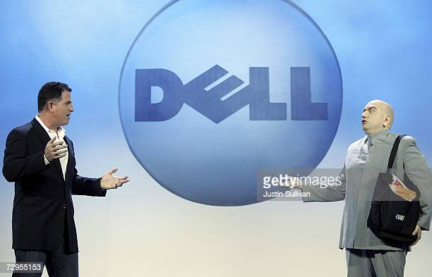 Dell Chairman Michael Dell talks with an Austin Powers Mini Me impersonator as he delivers a keynote address during the 2007 International Consumer...