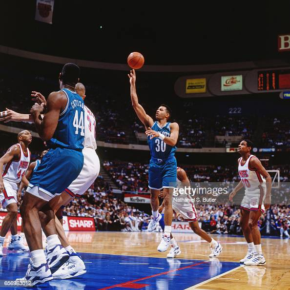 the best attitude c7aea 8a3f7 Dell Curry of the Charlotte Hornets shoots against the New ...