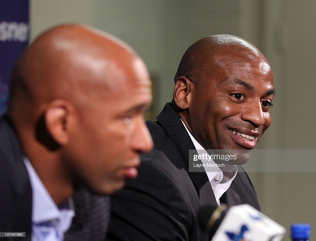 Dell Demps, general manager and senior vice president of basketball operations and Monty Williams, head coach of the New Orleans Hornets address the media after they selected Anthony Davis of Kentucky with the 1st overall selection in the 2012 NBA draft on JUNE 28, 2012 at the New Orleans Arena in New Orleans, Louisiana.