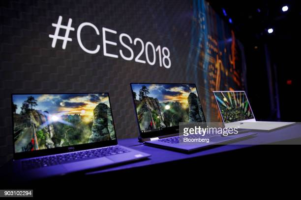 Dell Inc laptop computers are displayed before the company's press conference during the 2018 Consumer Electronics Show in Las Vegas Nevada US on...