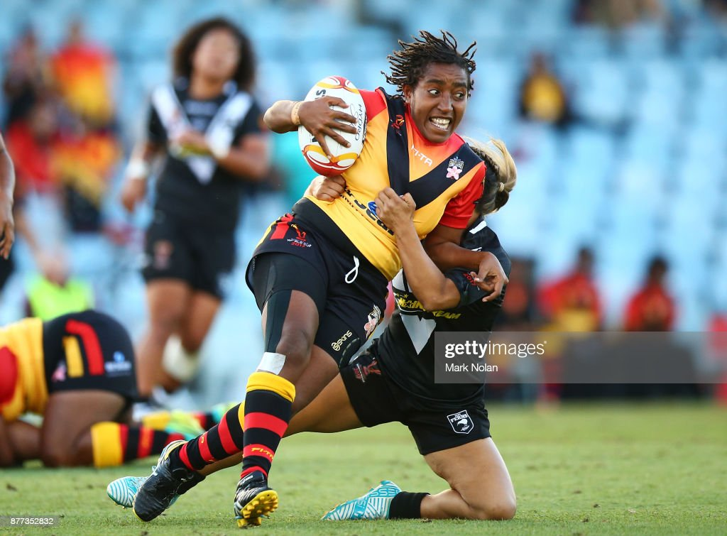 Della Audama of the Orchids runs the ball during the Women's Rugby League World Cup match between the Kiwi Ferns and the Papua New Guinea Orchids at Southern Cross Group Stadium on November 22, 2017 in Sydney, Australia.