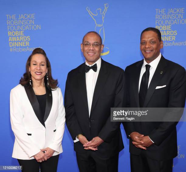 Della Britton Baeza John W Rogers and Gregg Gonsalves attend Jackie Robinson Foundation Robie Awards Dinner at Marriot Marquis on March 02 2020 in...