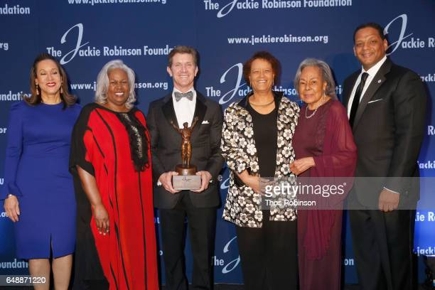 Della Britton Baeza Sharon Robinson Alex Gorsky Claire Smith Rachel Robinson and Gregg A Gonsalves attend the Jackie Robinson Foundation 2017 Annual...