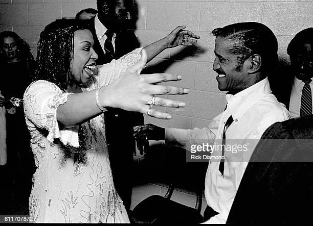 Della Reese and Sammy Davis Jr backstage during the Atlanta Missing and Murdered Child Benefit at Civic Center in Atlanta Ga on March 10 1981