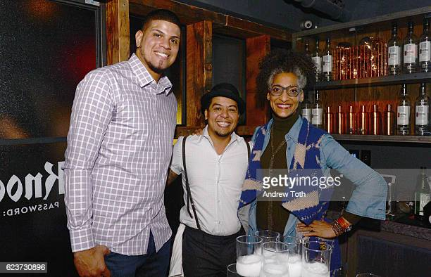 Dellin Betances Moses Laboy and Carla Hall attend the 2016 Eater Awards with Ketel One Vodka at Union Fare on November 16 2016 in New York City