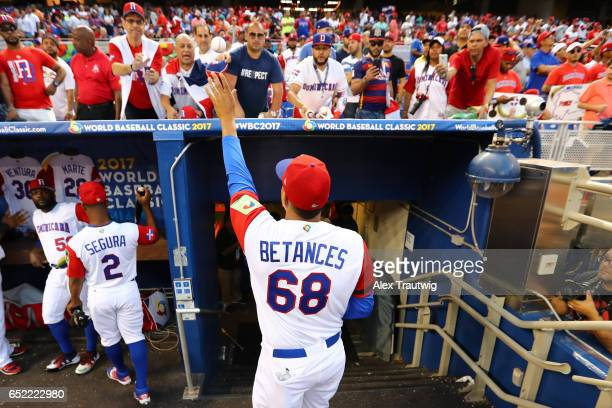 Dellin Betances of Team Dominican Republic signs autographs prior to Game 4 Pool C of the 2017 World Baseball Classic against Team USA on Saturday...