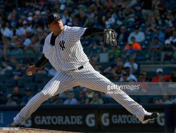 Dellin Betances of the New York Yankees delivers a pitch against the Toronto Blue Jays during the ninth inning of a game at Yankee Stadium on...