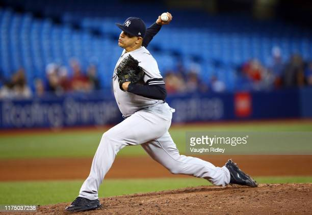 Dellin Betances of the New York Yankees delivers a pitch in the fourth inning during a MLB game against the Toronto Blue Jays at Rogers Centre on...