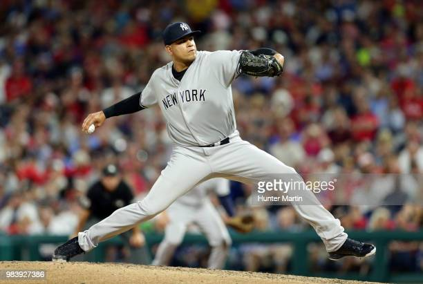 Dellin Betances of the New York Yankees delivers a pitch in the seventh inning during a game against the Philadelphia Phillies at Citizens Bank Park...
