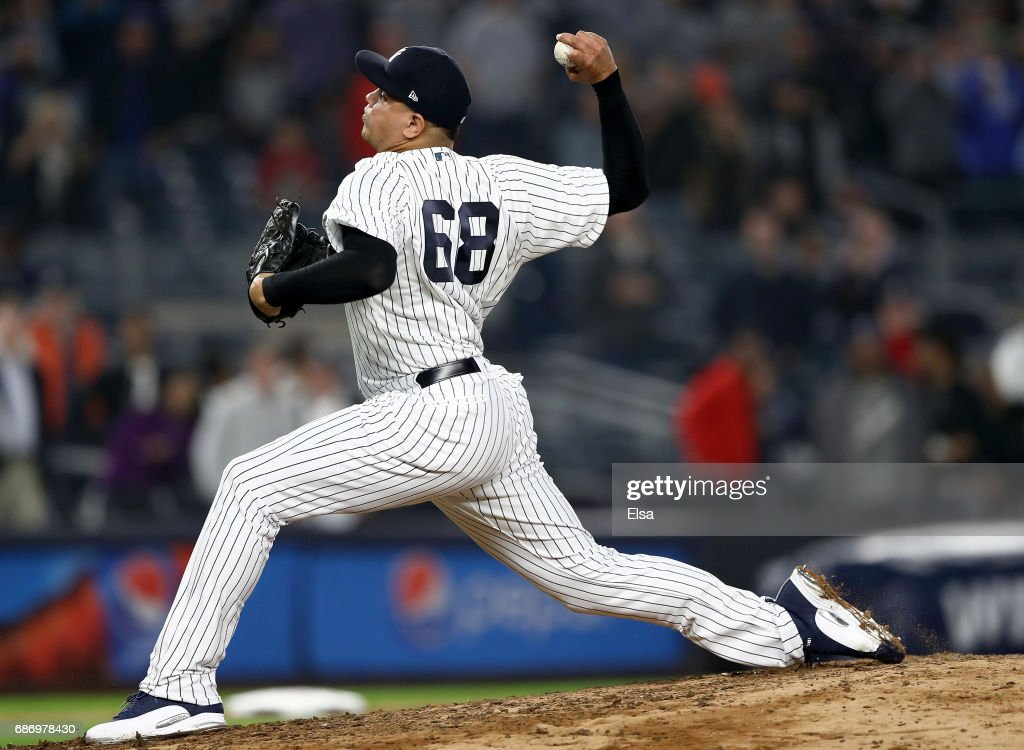 Dellin Betances #68 of the New York Yankees delivers a pitch in the ninth inning against the Kansas City Royals on May 22, 2017 at Yankee Stadium in the Bronx borough of New York City.