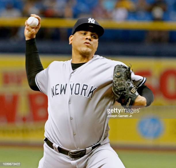 Dellin Betances of the New York Yankees delivers a pitch in the eighth inning of the game against the Tampa Bay Rays at Tropicana Field on September...