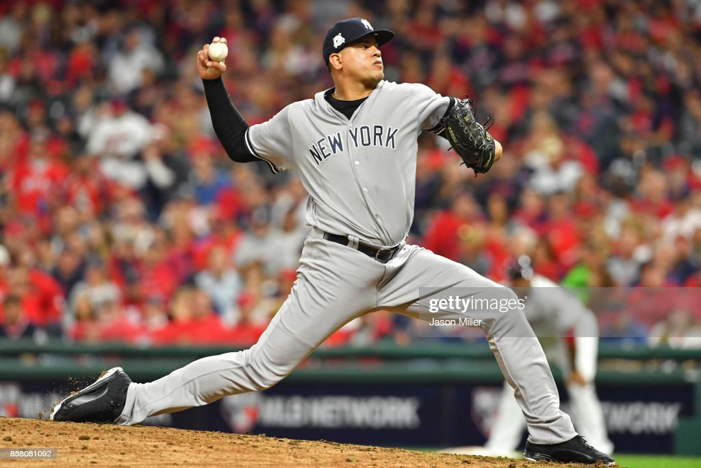 Dellin Betances #68 of the New York Yankees delivers the pitch during the eighth inning against the Cleveland Indians during game one of the American League Division Series at Progressive Field on October 5, 2017 in Cleveland, Ohio.