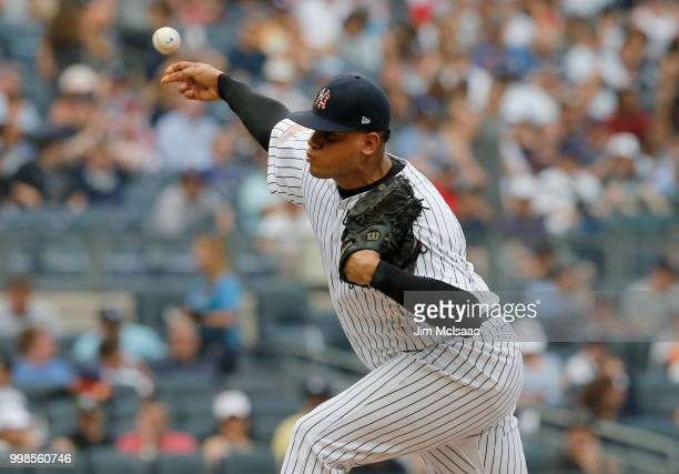Dellin Betances of the New York Yankees in action against the Atlanta Braves at Yankee Stadium on July 4 2018 in the Bronx borough of New York City...