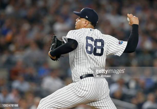 Dellin Betances of the New York Yankees in action against the Boston Red Sox in Game Four of the American League Division Series at Yankee Stadium on...