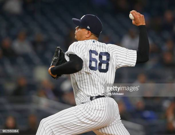 Dellin Betances of the New York Yankees in action against the Minnesota Twins at Yankee Stadium on April 24 2018 in the Bronx borough of New York...