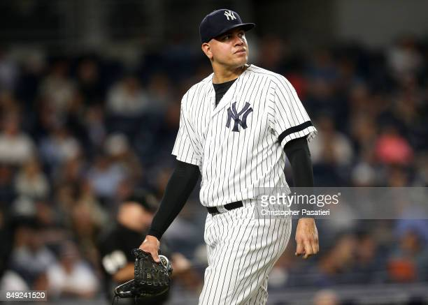 Dellin Betances of the New York Yankees looks on after being taken out of the game in the top of the eighth inning against the Minnesota Twins on...