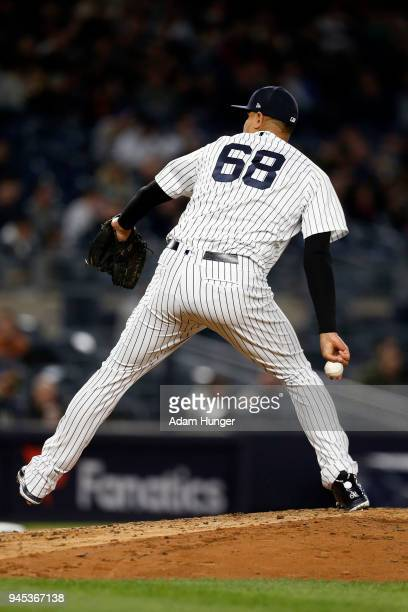 Dellin Betances of the New York Yankees pitches against the Baltimore Orioles during the seventh inning at Yankee Stadium on April 6 2018 in the...