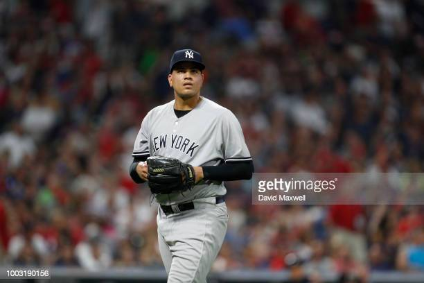 Dellin Betances of the New York Yankees pitches against the Cleveland Indians in the eighth inning at Progressive Field on July 14 2018 in Cleveland...