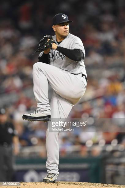 Dellin Betances of the New York Yankees pitches during game two of a doubleheader against the Baltimore Orioles at Nationals Park on June 18 2018 in...