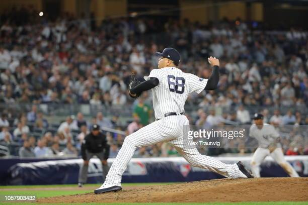 Dellin Betances of the New York Yankees pitches during the American League Wild Card game against the Oakland Athletics at Yankee Stadium on...
