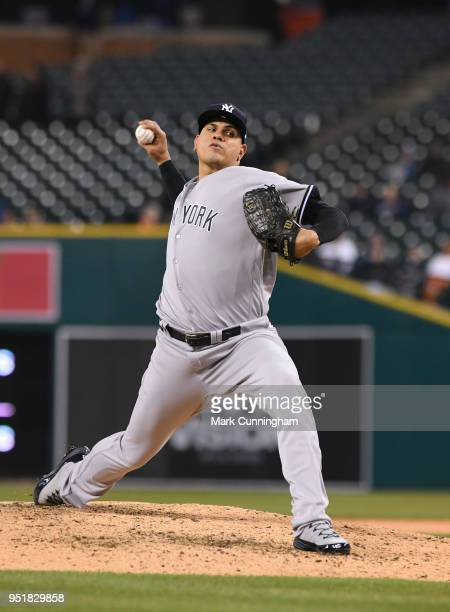 Dellin Betances of the New York Yankees pitches during the game against the Detroit Tigers at Comerica Park on April 13 2018 in Detroit Michigan The...