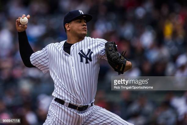 Dellin Betances of the New York Yankees pitches during the game against the Cleveland Indians at Yankee Stadium on Sunday May 6 2018 in the Bronx...